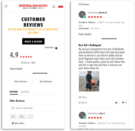 Yotpo reviews on the Birdwell store