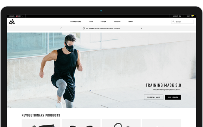 Mockup of Training Mask homepage after redesign