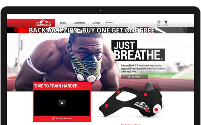 Mockup of Training Mask homepage before redesign