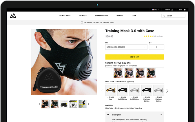 Mockup of Training Mask product page after redesign