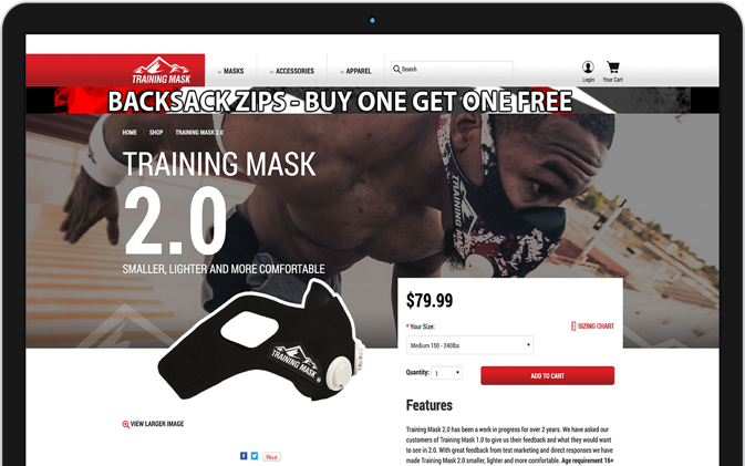 Mockup of Training Mask product page before redesign