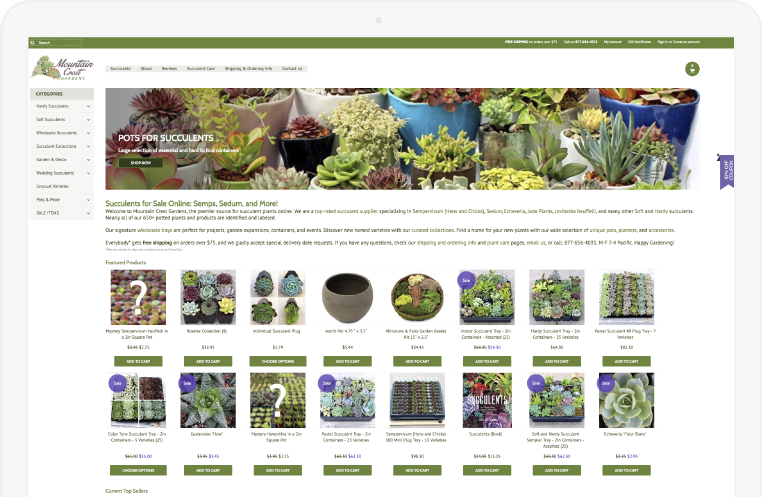 Mountain Crest Gardens homepage before image