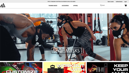 Image of Training Mask homepage dated 2017, banner showing people exercising in gym whilst wearing Training Mask products..