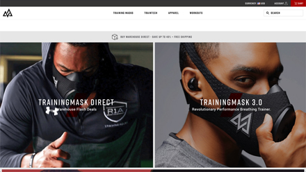 Image of Training Mask homepage dated 2018, two half width banners showing running and man wearing Training Mask product.