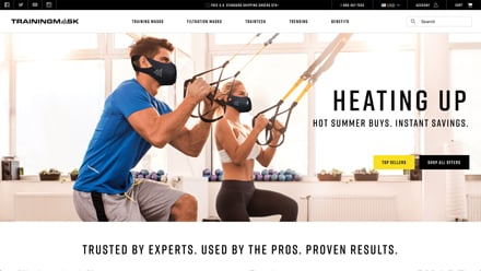 Image of Training Mask homepage dated 2019, banner showing man and woman exercising with text