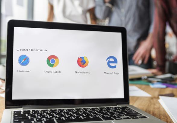 photo of laptop displaying multiple browser logos