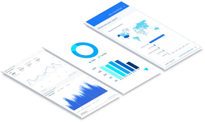 three isometric cards displaying blue analytics and line graphs