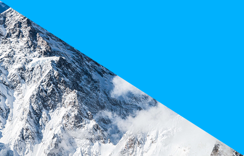 Mountain obstructed by blue triangle