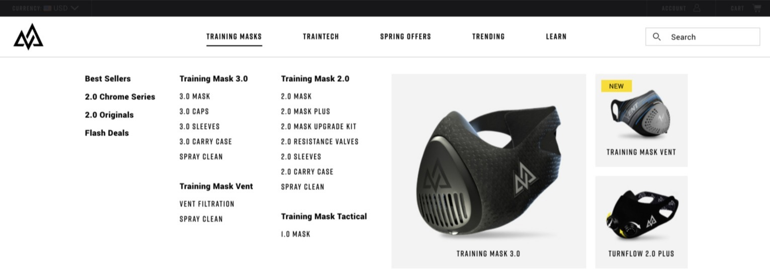 Mega menu of Training Mask website displaying all product categories