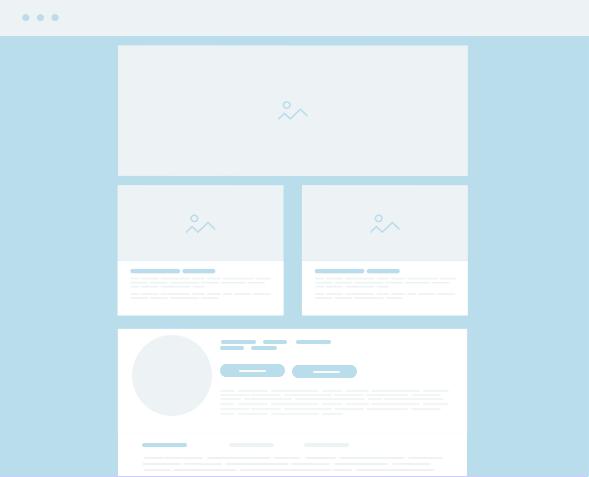 light blue wireframe of a website